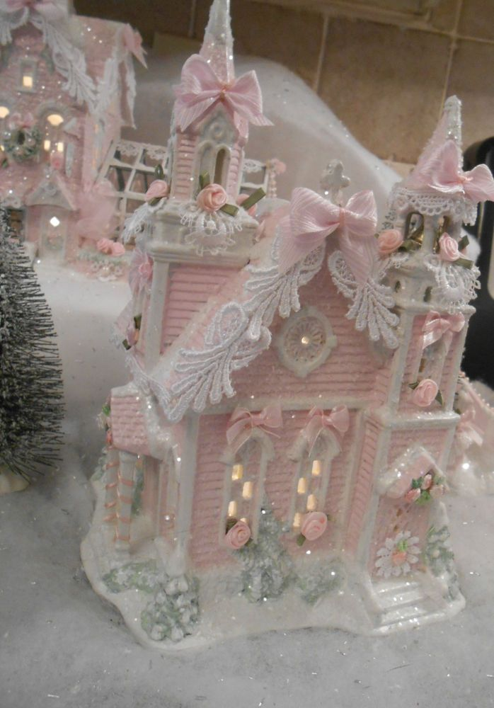 shabby pink victorian christmas  village church house  chic roses glitter
