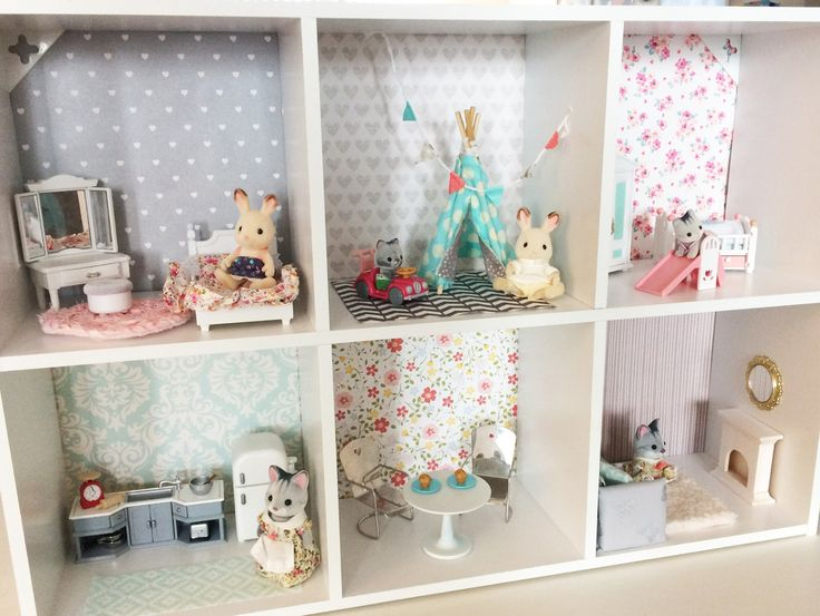 Darling DIY Calico Critters House from The Reinvented Housewife! Sylvanian Families 1/12 scale dollhouse miniatures furniture