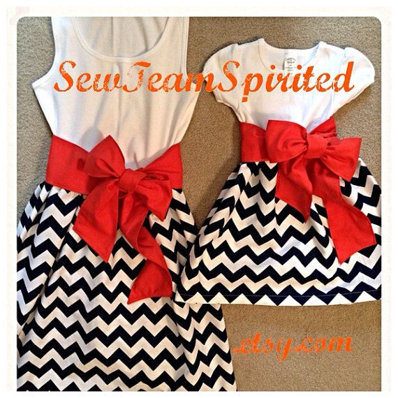 Matching Mother Daughter Tank Chevron Dresses by SewTeamSpirited, $75.00