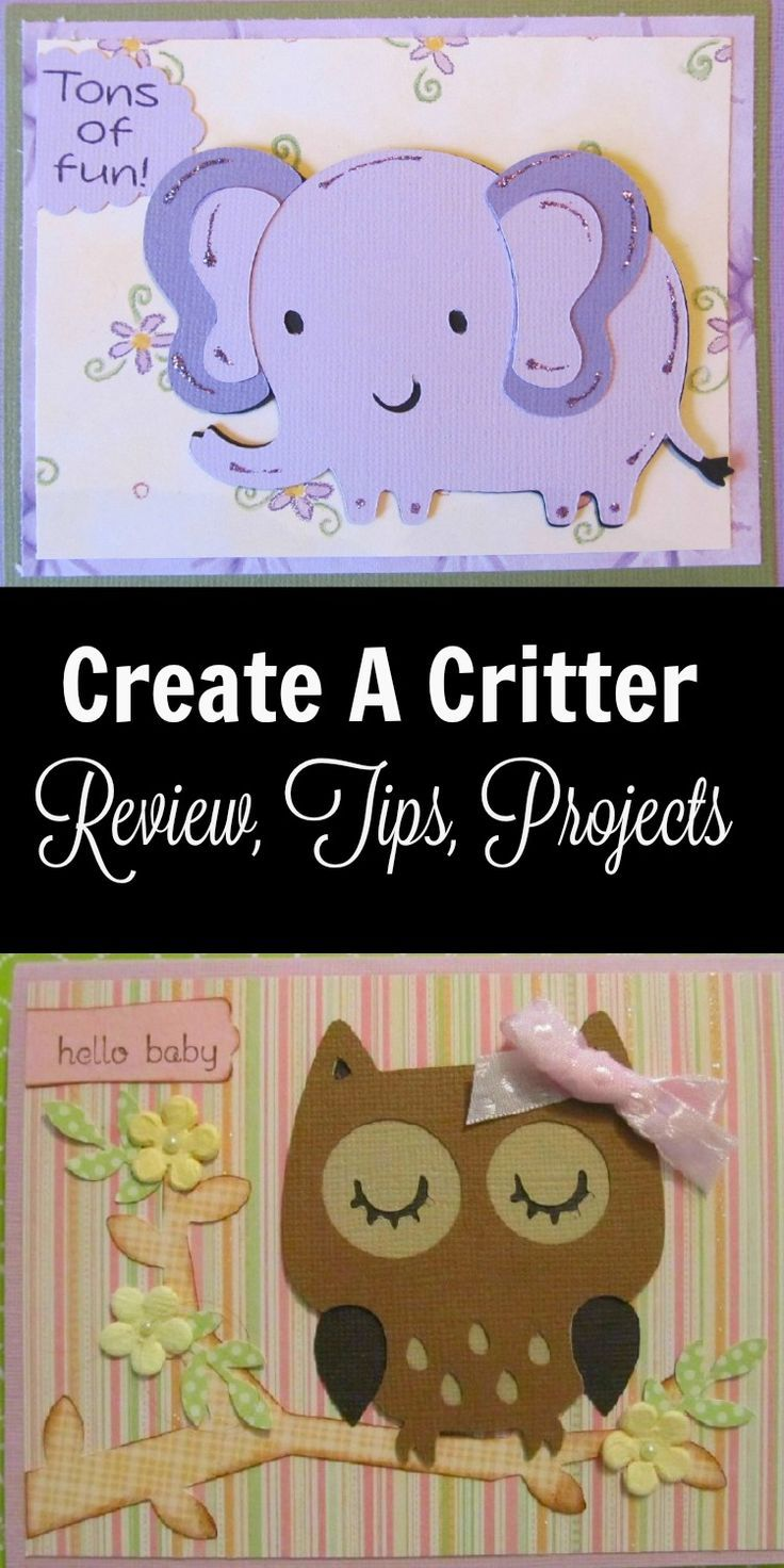 Create A Critter Cricut Cartridge Review - Create A Critter has so many cute animals.  They are great for cards, scrapbook pages, party favors, and other Cricut Projects.