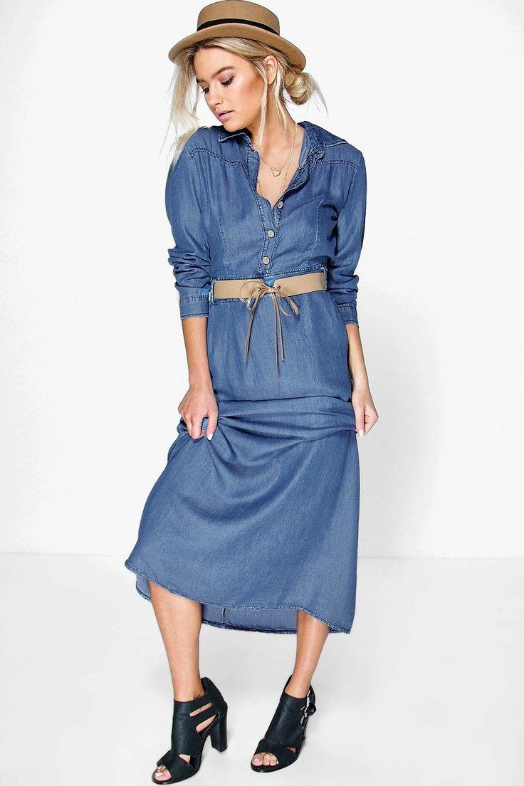 Trought Denim Maxi Dress   Dresscab