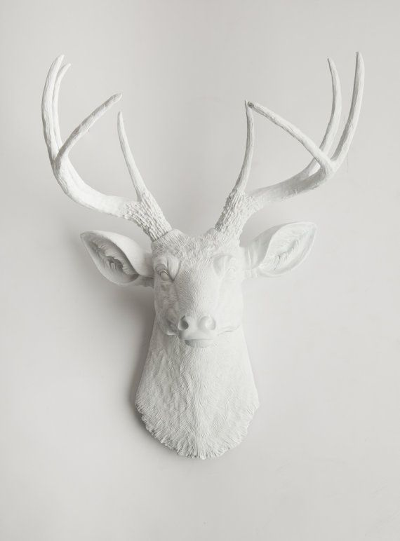 The Templeton - White Ceramic Deer Head- White Deer Antlers Mounted- Faux Head Wall Mount