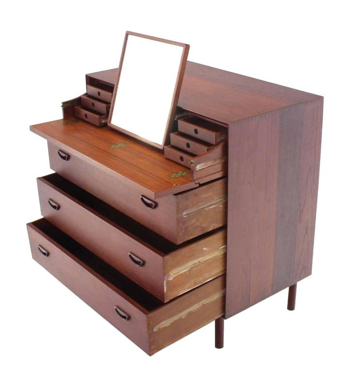 Piter Hvidt Solid Teak Concealed Vanity Mirror Chest  | From a unique collection of antique and modern commodes and chests of drawers at https://www.1stdibs.com/furniture/storage-case-pieces/commodes-chests-of-drawers/