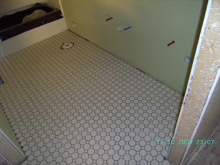 Bathroom Floor Tiles Upstairs : Daltile octagon dot tile with delorean gray upstairs