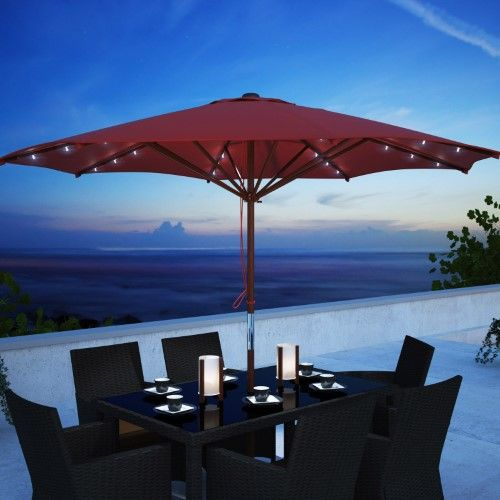 Corliving 8 7 Ft Wood Frame Patio Umbrella With Solar Power Led
