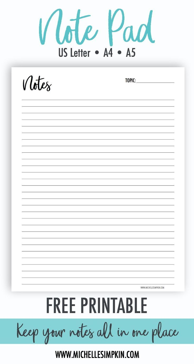 Free Printable Use This Free Note Pad Printable To Make Notes Create Lists And More No E Happy Planner Free Printable Free Paper Printables Printable Notes
