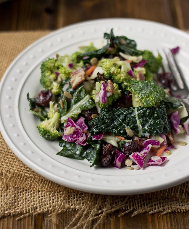 Broccoli Kale Salad-like the broccoli salad I love, but with kale and cabbage added