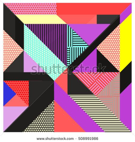 Trendy geometric elements memphis greeting cards design. Retro style texture, pattern and elements. Modern abstract design poster and cover template