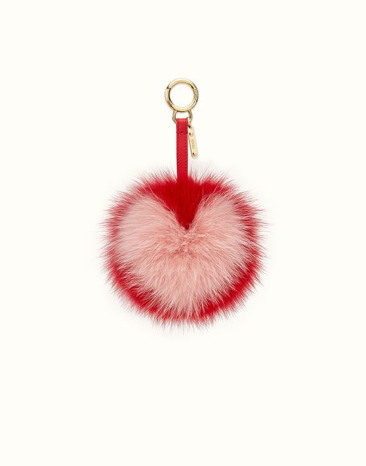 FENDI | PON PON CHARM in red and pink fur