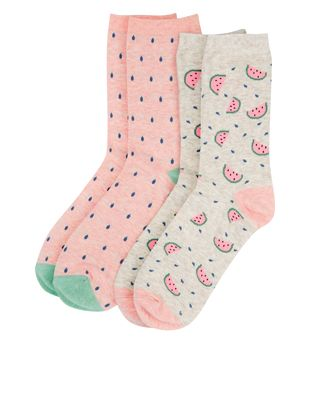Keep your feet feeling fresh with this two-pair pack of watermelon socks, made from a stretchy blend of cotton.