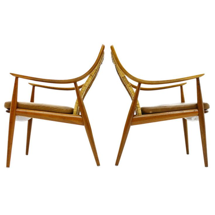 Early Pair Of Hvidt And Molgaard Lounge Chairs, Teak And Cane, 1956