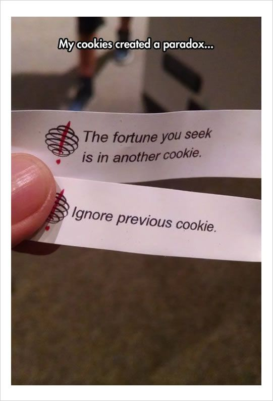 fortune cookie quote making paradox