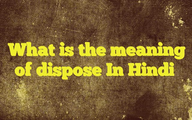 What is the meaning of dispose In Hindi http://www.englishinhindi.com/?p=6027&What+is+the+meaning+of+dispose+In+Hindi  Meaning of  dispose in Hindi  SYNONYMS AND OTHER WORDS FOR dispose  निपटाना→dispose,determine देना→give,grant,pass,give over,cede,dispose बेचना→sell,vend,trade,merchandise,market,dispose व्यवस्थित करना→modulate,dispose,regularize,set प्रवृत्त करना&#8594