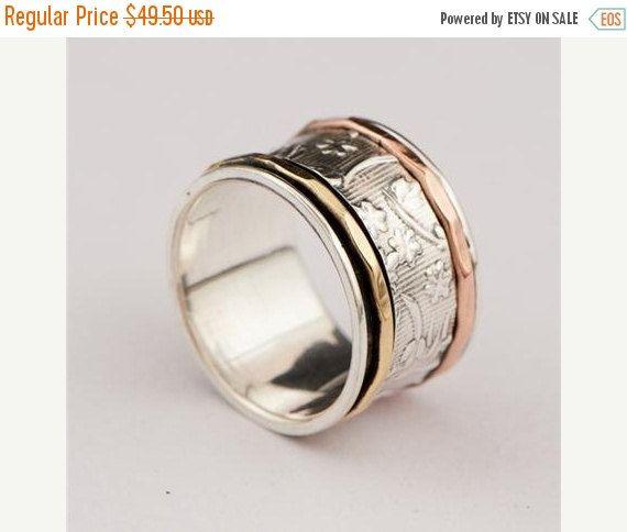 anello antistress - tre anelli metallici - anello più metalli - gioielli tribali - gioielli etnici - gioielli unisex