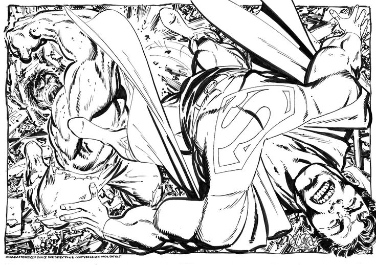 Hulk Vs Superman commission by John Byrne. 2013.