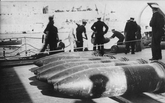 "HMS Hood - 15 Inch Shells being loaded ""on deck"" - Royal Navy (Malta)"