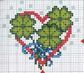 cross stitch chart Irish heart       St Valentine or St Patrick
