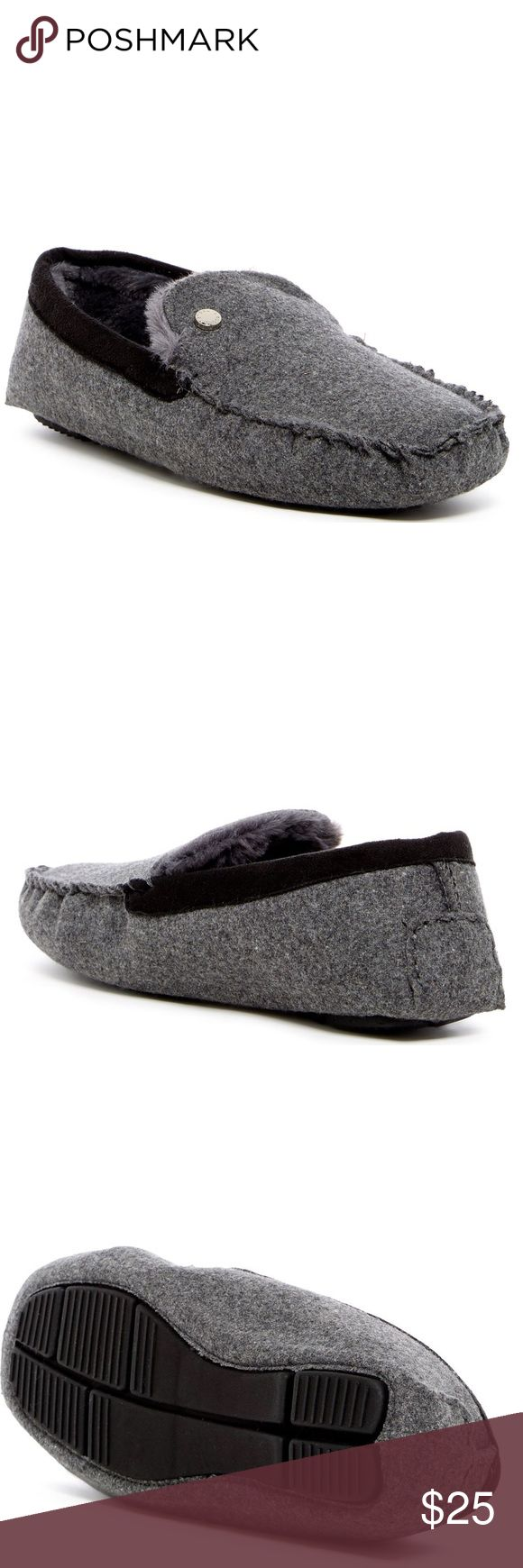 NIB Steve Madden Spire Faux Fur Lined Slipper Men' cozy faux fur lined slippers by Steve Madden in Grey.  Moc toe, Slip-on, cushioned insole. Steve Madden Shoes Loafers & Slip-Ons