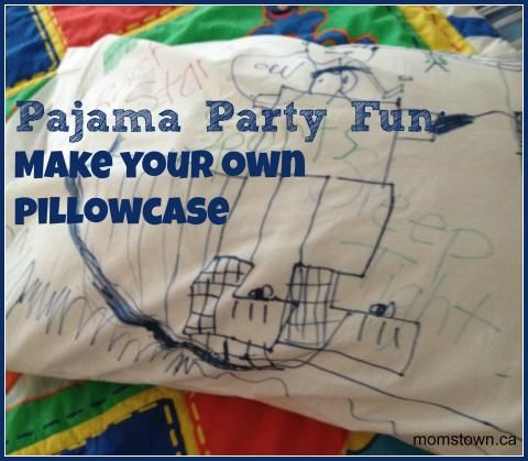 Pajama or Sleepover Party loot bag idea- make a pillowcase with these ideas to decorate