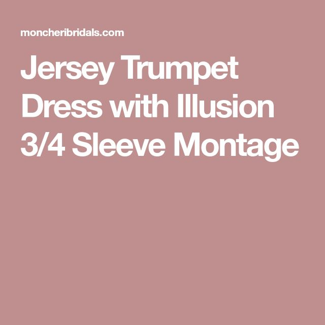 Jersey Trumpet Dress with Illusion 3/4 Sleeve Montage