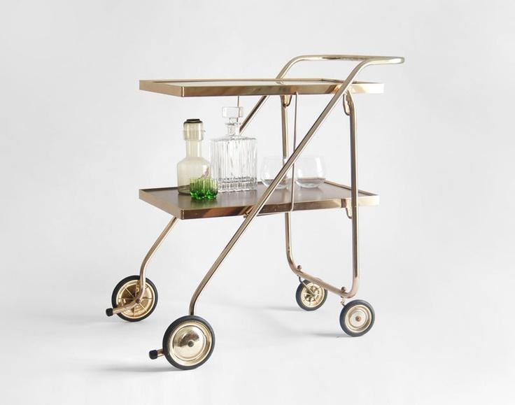 Vintage Bar Cart Mid Century Modern Retro Shelf by Hindsvik