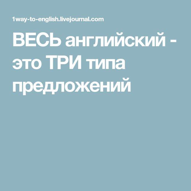 ВЕСЬ английский - это ТРИ типа предложений