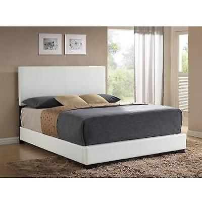 Queen Faux Leather Bed Headboard Frame Upholstered Footboard White Bedroom New