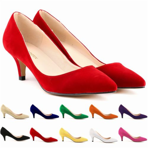 Ladies Sexy Low Mid Kitten Heels Shoes Faux Suede Pointed Toe Pumps Size 4 11 | eBay