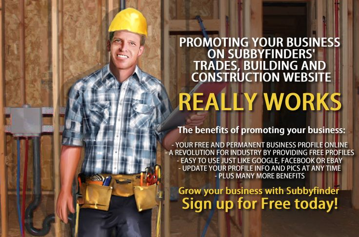 Promote your business with Australia's only dedicated website for the #building and #construction industry. There are plenty of benefits for signing up and the main benefit is that it's FREE!  Sign up today, you have no excuses not to ! http://subbyfinder.com.au/