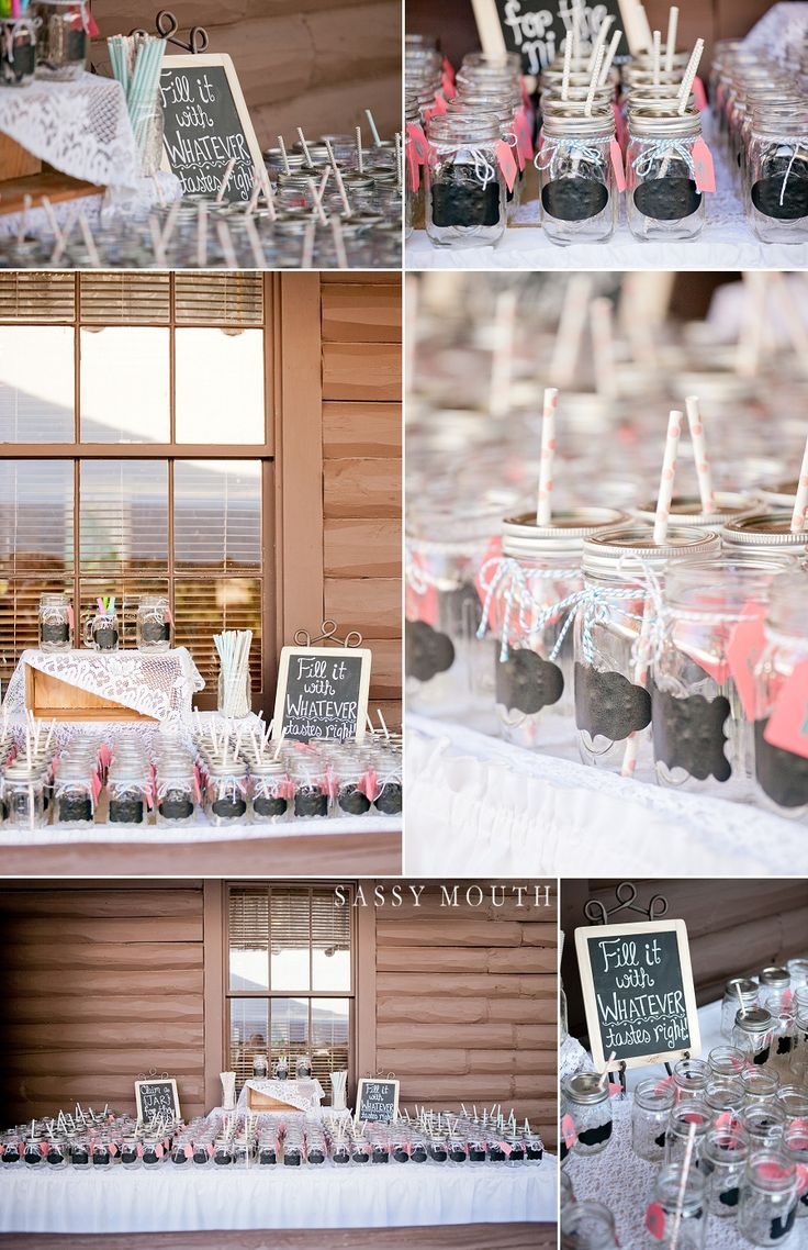 Mason Jar Favor Table Country Girl Collections Wickham Park Cabin Garden Wedding - Sassy Mouth - Shannon and Billy