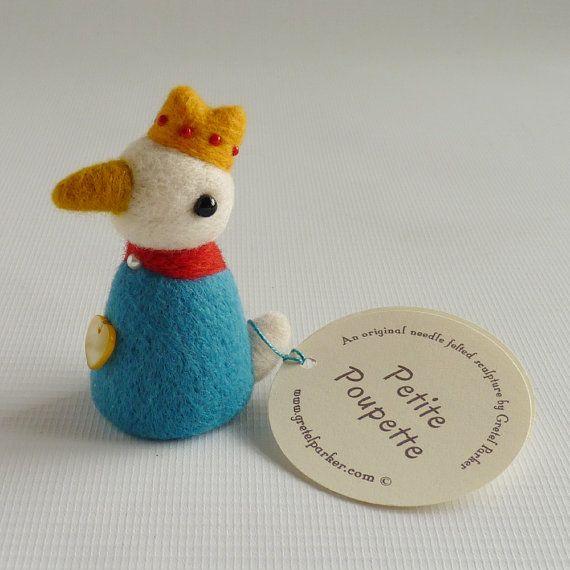 Kleine naald vilten vogel pop, gemaakt door Gretel Parker, naald voelde vogel…