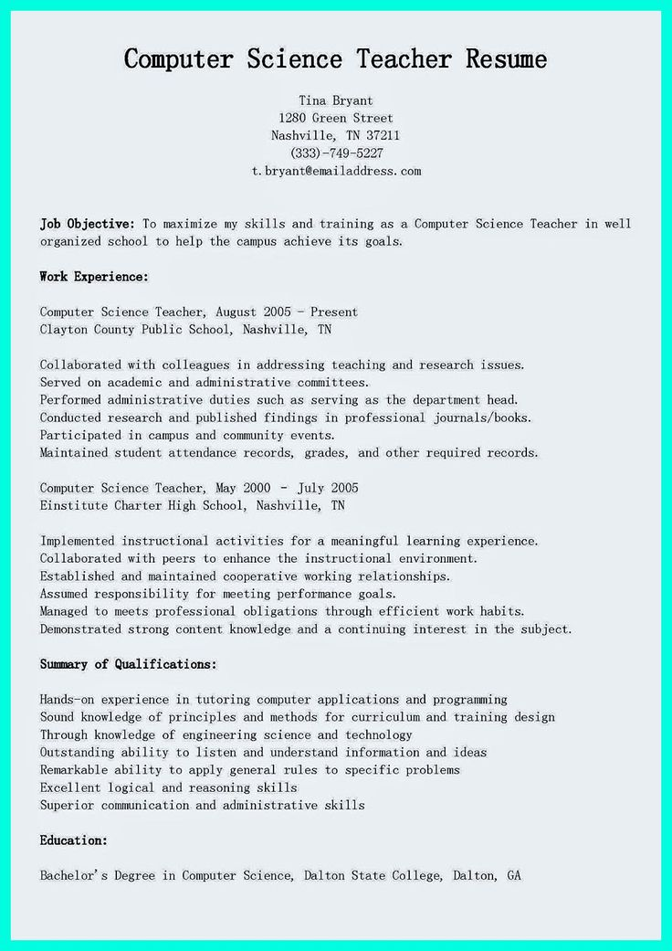 Professional Resume For Computer Teacher