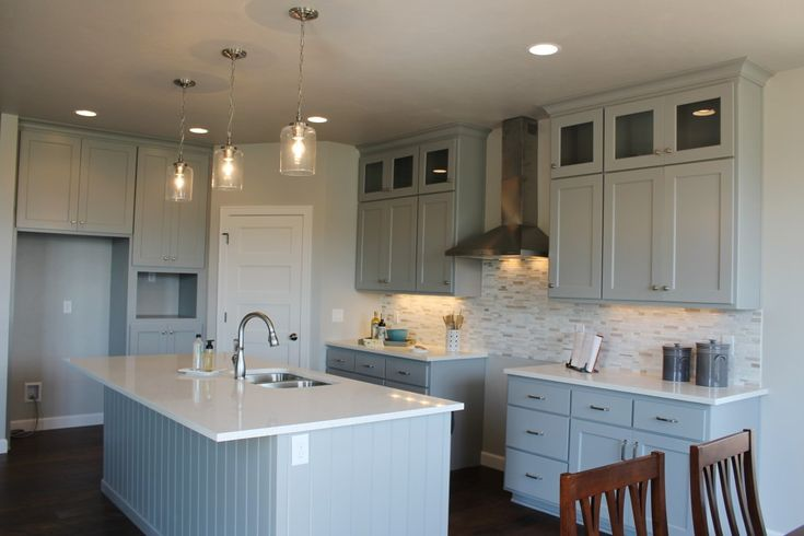 grey cabinets with white counters maple on prescott