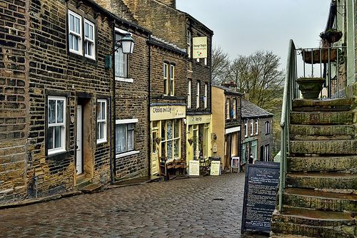 Main Street, Haworth - Brontë Village. Historic Haworth village is situated on the edge of the Pennine moors and was made famous by the Brontë sisters, who lived there.