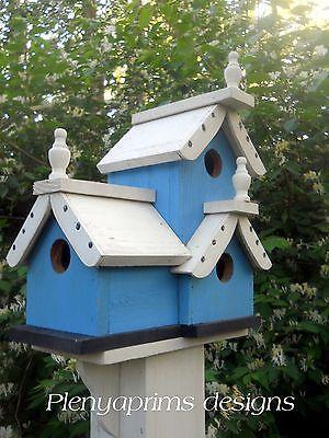 Birdhouse, 3 compartments folk art primitive,bird house