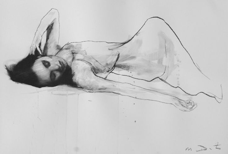 Mark Demsteader Alana Reclined Collage and Pastel 117 x 81 cm  #Art #Painting #Collage