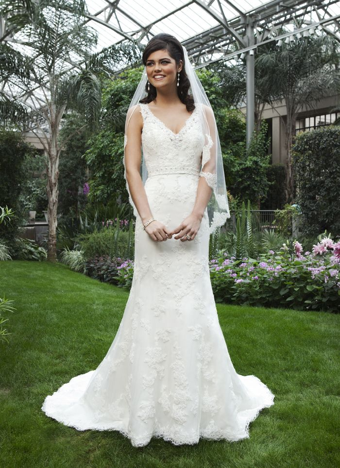 Sincerity wedding dress style 3735 This mermaid gown has a V-neckline done in beaded lace and tulle, and is  accented with a beaded band at the natural waist. Gown has a V-back,  buttons that cover back zipper, and a chapel length train.