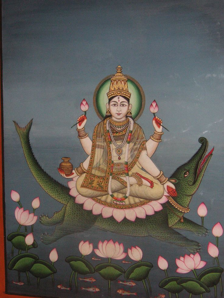 The Goddess Ganga is often depicted riding the makara, a sea monster, with water flowing all around her.