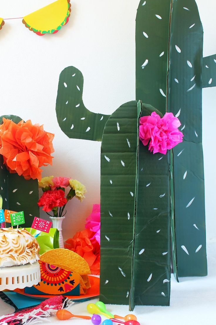 Make these cactus props out of cardboard and paint for your next fiesta party!   Squirrelly Minds