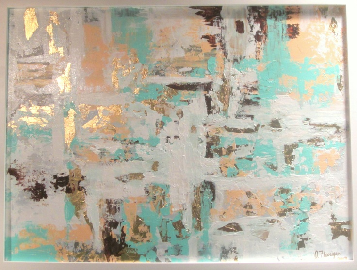 Abstract Painting 18x24 Peach Gold Leaf Mint White