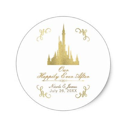 Gold Faux Foil Princess Castle Storybook Wedding Classic Round Sticker - elegant gifts gift ideas custom presents