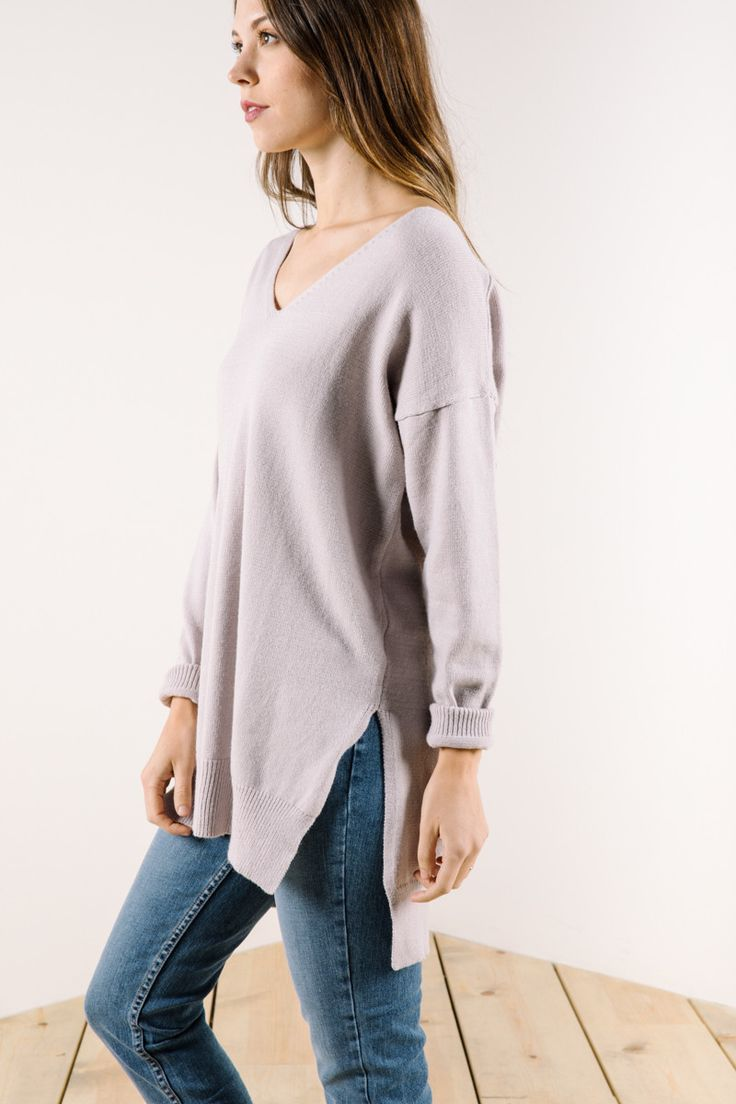 The Goldie V-Neck Sweater in Lavender
