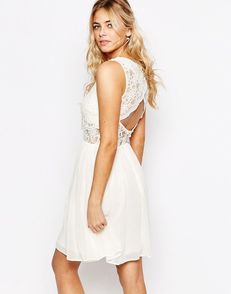 Image 1 of Elise Ryan 2 in 1 Lace Top Skater Dress With Scallop Back