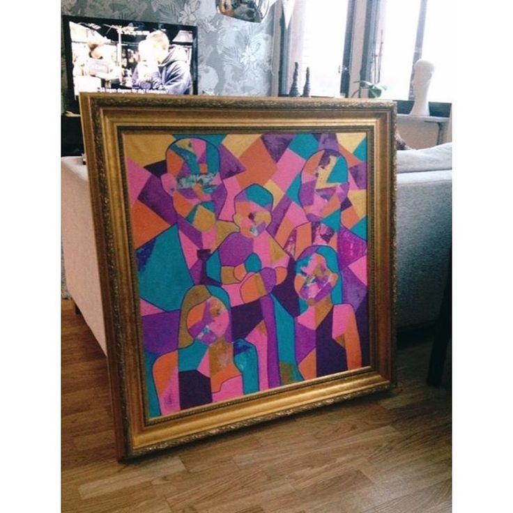 Beställning, familjeporträtt..äntligen klar! 👨👩👧👧 #art #artist #artwork #konst #konstnär #konstverk #instaart #instaartist #tavla #inramat #målning #abstrakt #abstraktkonst #streetart #kubism #abstract #abstractart #artbyelinnagander