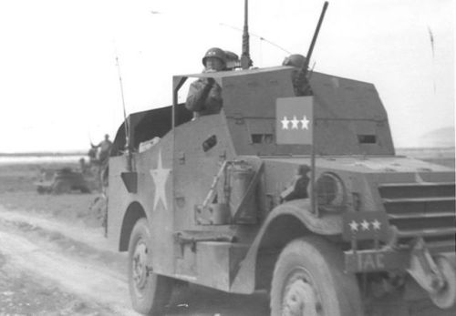 George Patton in his modified M3A1 Scout Car, circa 1943. http://wrhstol.com/2yh46gX