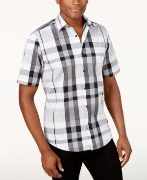 Alfani Men's Plaid Shirt, Only at Macy's - White 3XL