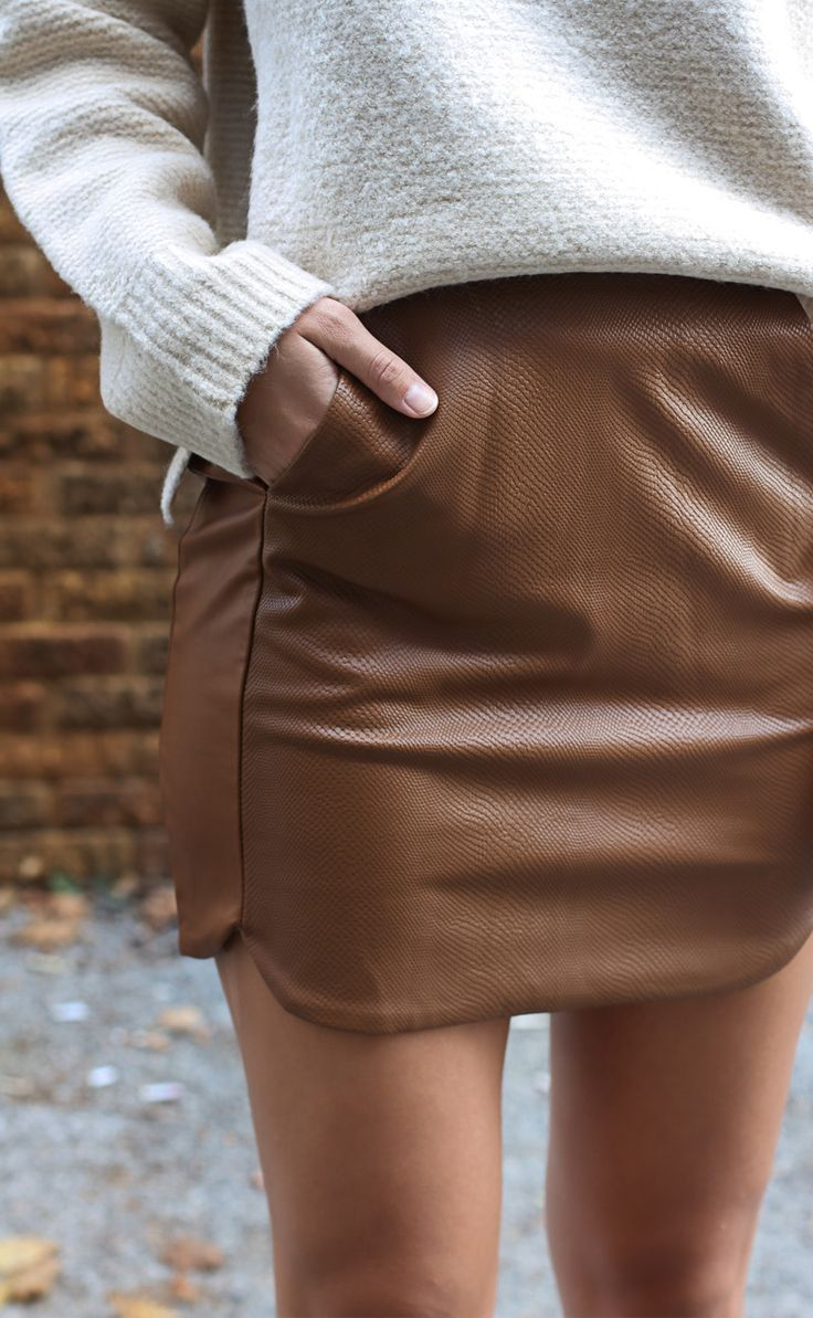 steps of the met leather skirt - camel