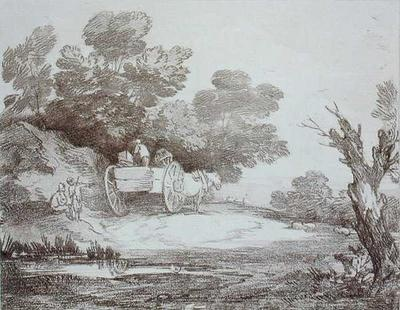 Wooded Landscape, Country Cart and Figures by Thomas Gainsborough