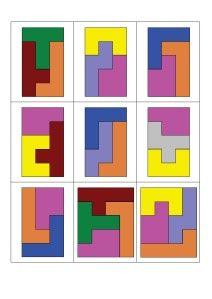 Il s'agit avec ces 12 formes de paver un rectangle Vous trouverez des fiches défis, des feuilles de route et tout ce qu'il faut pour organiser un atelier en autonomie sur le site de CHD. http://chdecole.ch/wordpress/katamino-pentaminos/ mes fiches pentaminos...