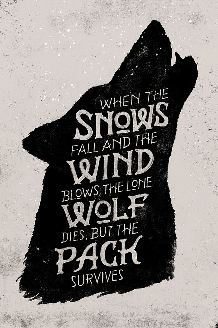 """When the snows fall, and the white winds blow, the lone wolf dies, but the pack survives."" GoT"